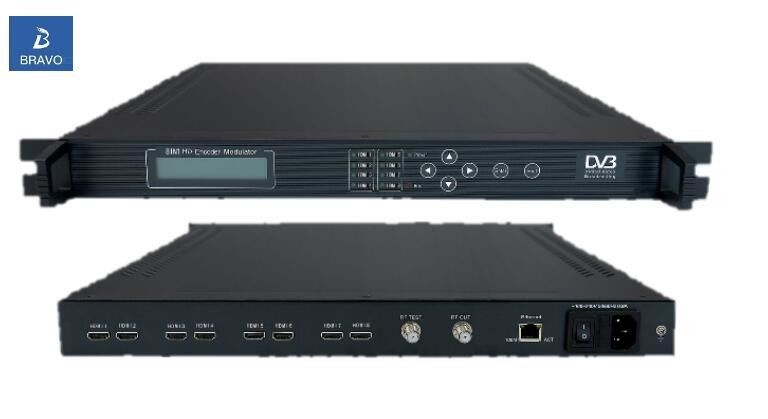 DVB-C Modulator SD HD Encoder BW-3254 Keyboard / Network Control 8 In 1 Multiple Function